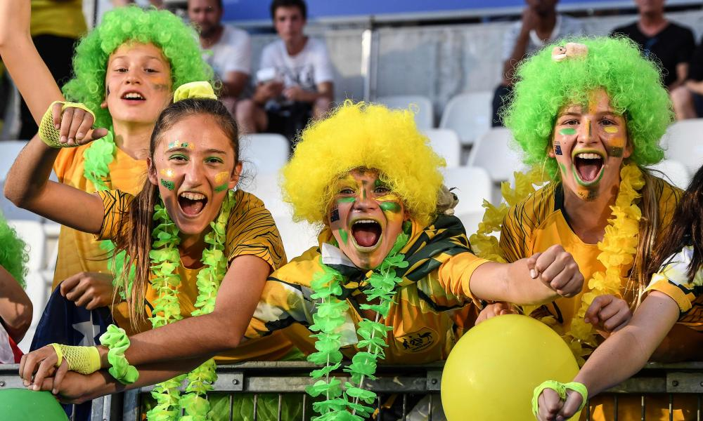 Australia supporters pose prior to the France 2019 Women's World Cup Group C football match between Jamaica and Australia.
