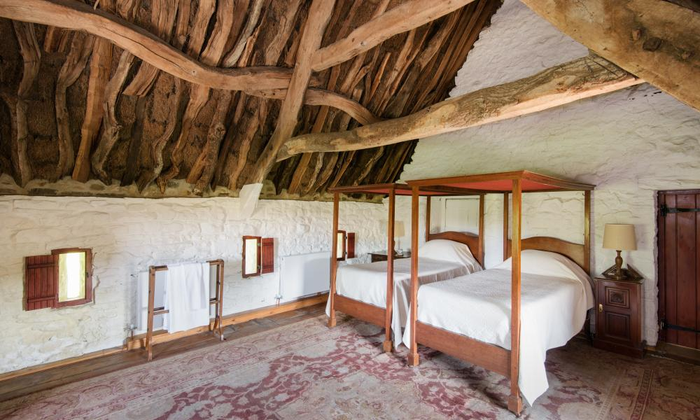 Thatched bedroom at Causeway House, Northumberland