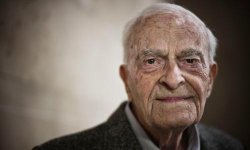 Harry Leslie Smith - a 93 year old man who's written about growing up before the welfare state, seeing what a change it made to peoples lives and how the coalition is eroding that. Photo by Sarah Lee
