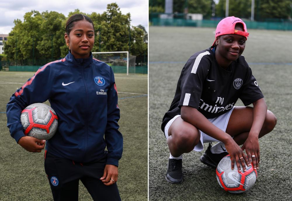 Océane Jourdain, 16, a forward for Bondy, left, and 17-year-old Bintou Dabo.