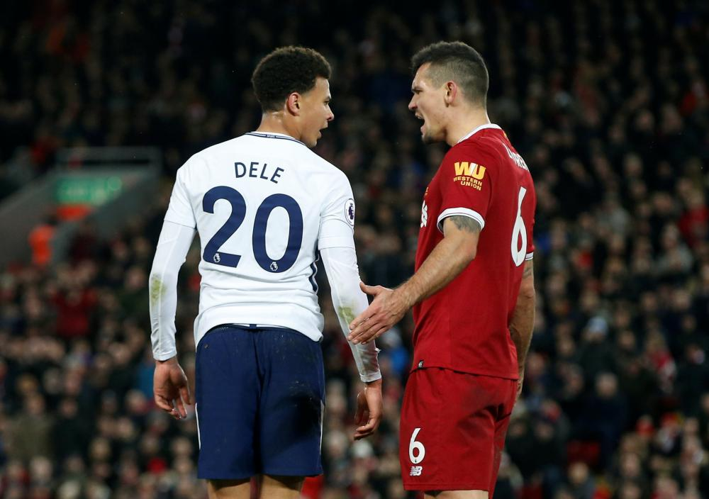 Lovren's not impressed with Alli's antics.