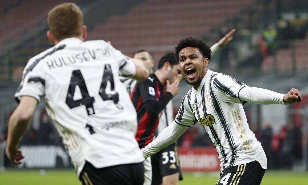 Juventus' Weston McKennie, right, celebrates with Dejan Kulusevski after scoring his side's third goal.