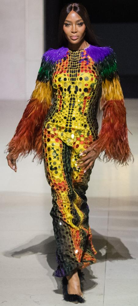 Naomi Campbell walks the runway at the Fashion for Relief show during London Fashion Week September 2019