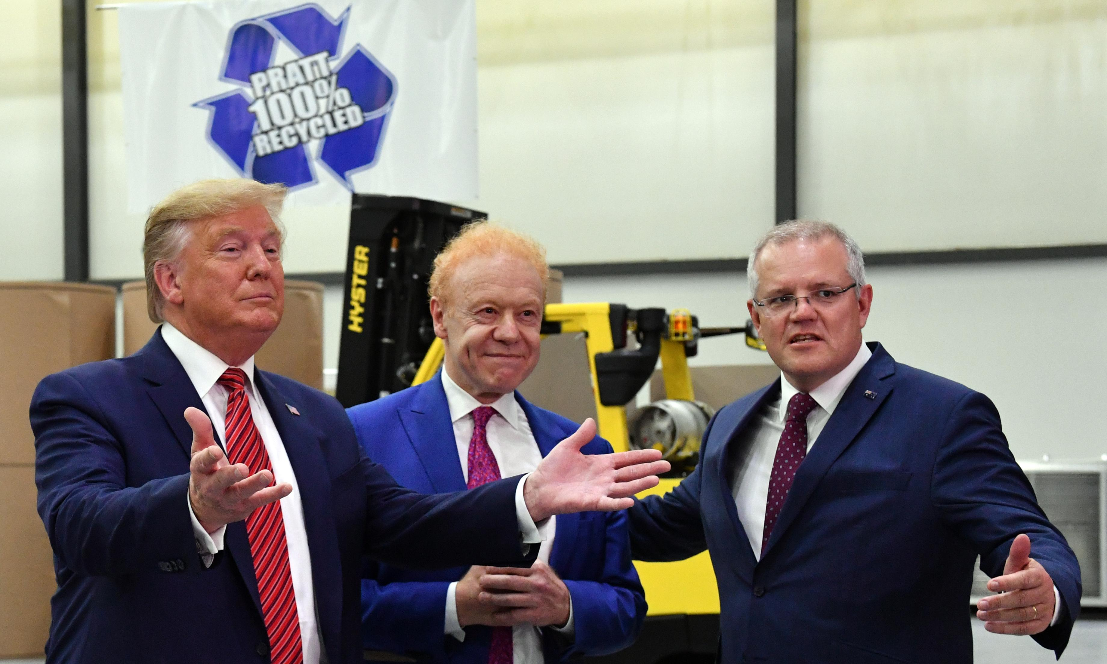 Morrison visits an Australian box factory in Ohio – and the Trump crowd goes wild