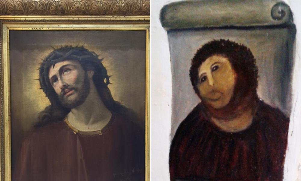 Ecce Homo: before and after.