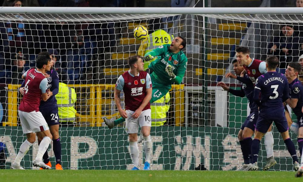 West Ham United's Roberto scores an own goal and Burnley's third.