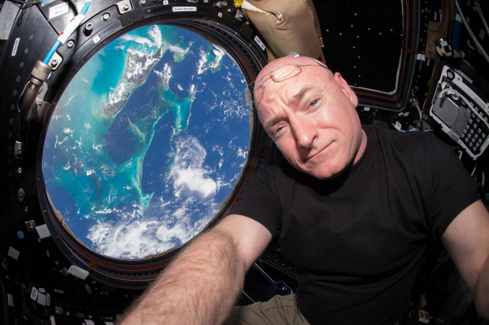 A selfie taken by Kelly while on board the International Space Station, 12 July 2015.