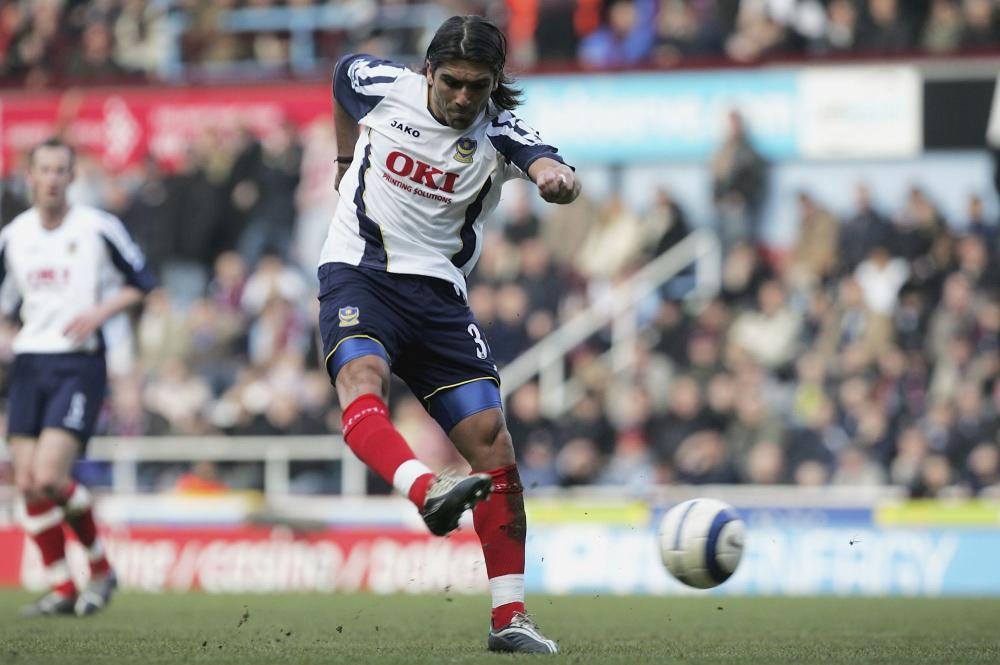 Pedro Mendes scores Portsmouth's third goal against West Ham at Upton Park in 2006.