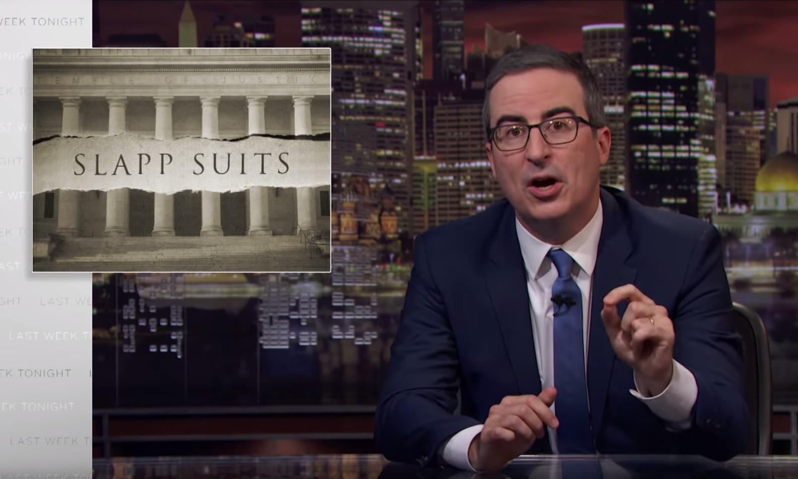 John Oliver takes on muzzling lawsuits – and the man who sued his show