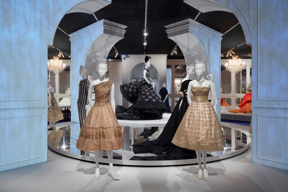 The final room filled with Dior gowns in the NGV House of Dior: 70 years of haute couture exhibition