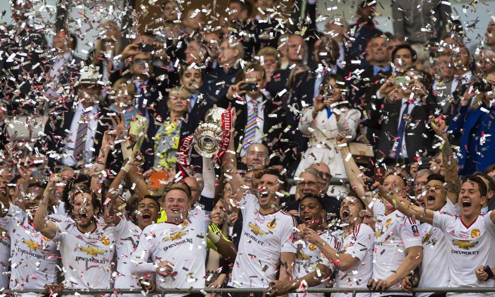Manchester United celebrate winning the FA Cup at Wembley in May 2016.