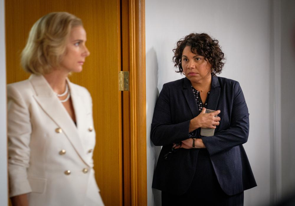 Deborah Mailman as Alex and Rachel Griffiths as Prime Minister Rachel Anderson in new ABC series Total Control.