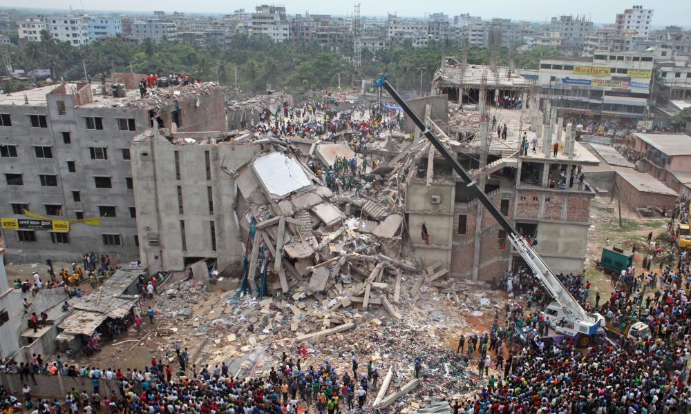 Scene after the eight-storey Rana Plaza collapsed in Bangladesh