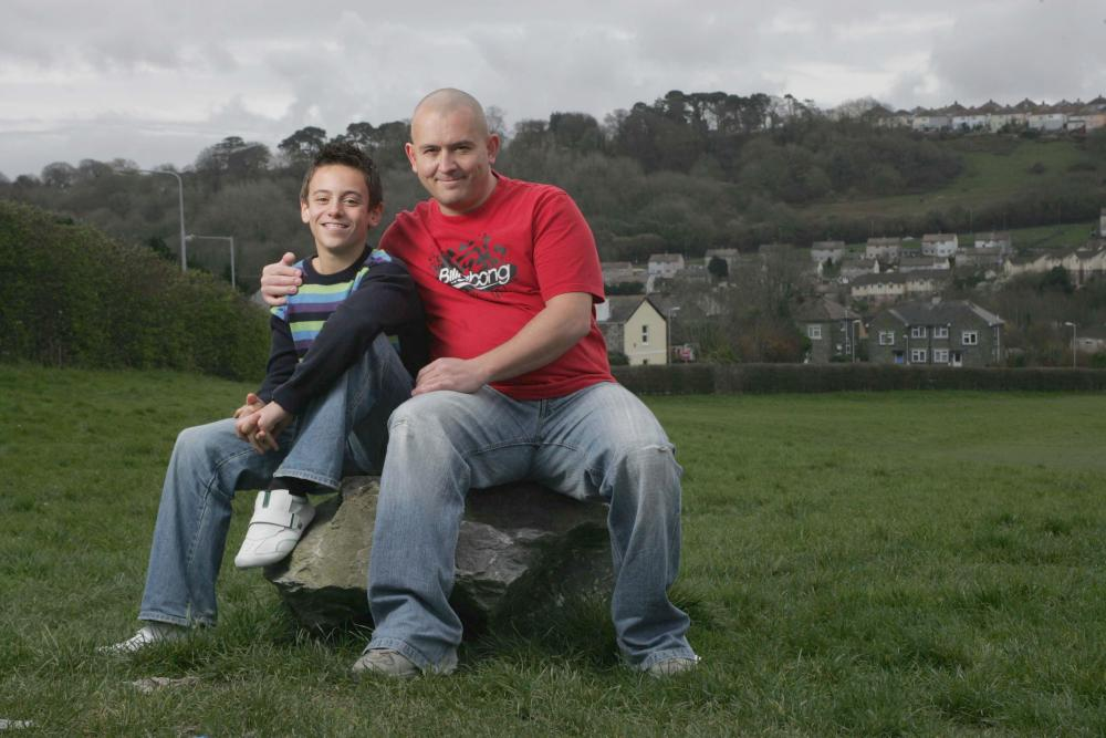 Tom Daley in Plymouth, his home town, with his father, Robert, in 2008
