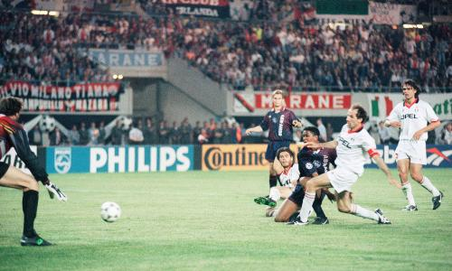 Ajax Amsterdam?s Patrick Kluivert, center, scores the match-winning goal, as Milan?s Alessandro Costacurta, second left, and teammate Franco Baresi, left, fail to defend and Milan goalie Sebastiano Rossi gets beaten during the European Champions Cup final in Vienna on Wednesday, May 24, 1995. (AP Photo/Luca Bruno)