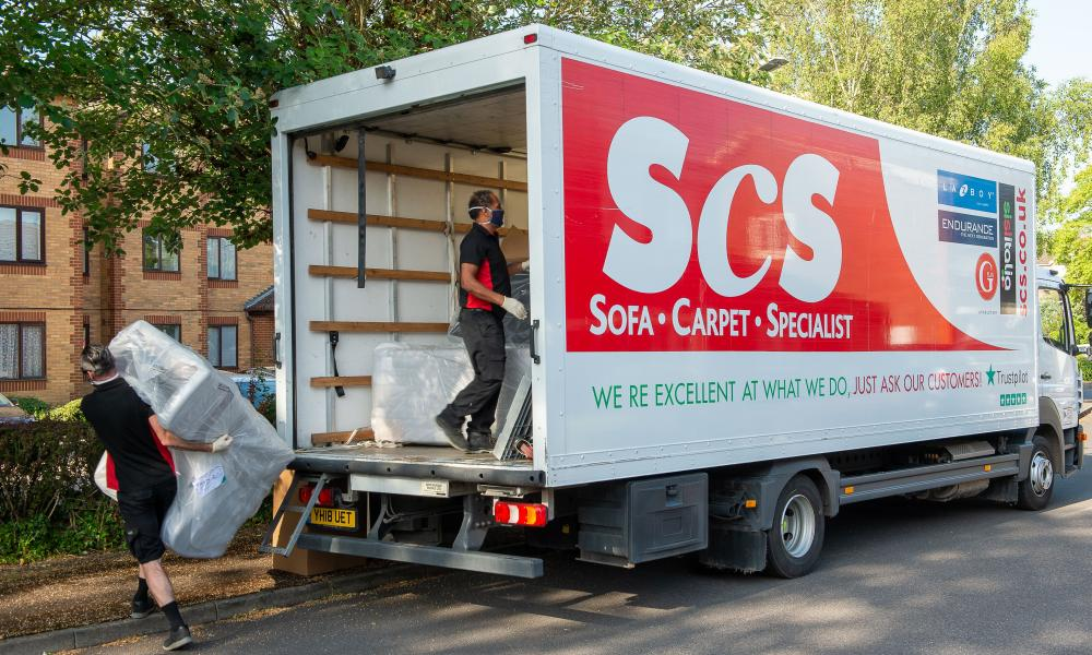 An SCS sofa being delivered in Slough, Berkshire.