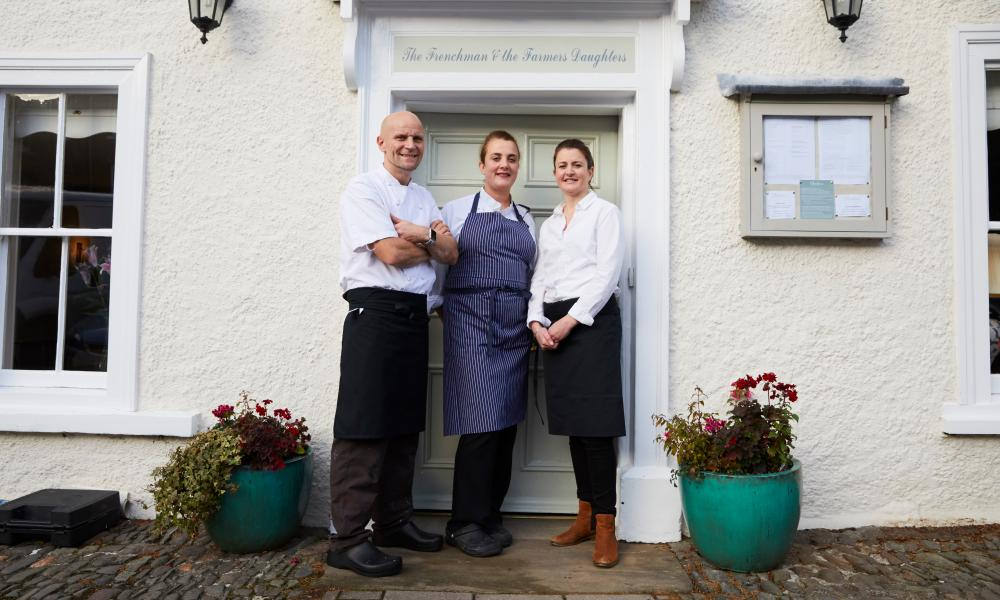 MONTGOMERY, 15 November 2018 - Restaurant owners Kathryn Francis, Sarah Francis and Stephane Bone who have handed back their Michelin star to put their families first and are preparing to reopen on Saturday as Checkers Pantry serving breakfast, lunch, coffe and cake in the same premises in Montgomery, Powys. Christopher Thomond for The Guardian