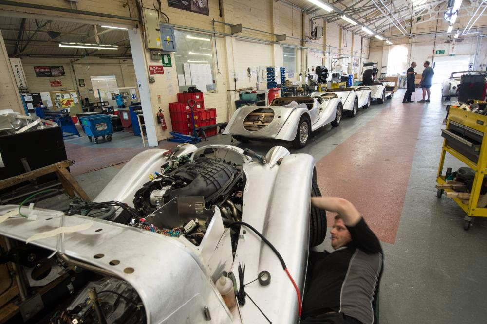 The Morgan factory produces about 850 cars each year