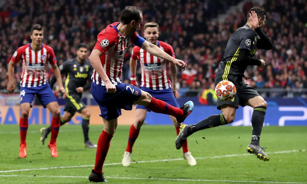 Diego Godin thumps in Atletico Madrid's second goal.