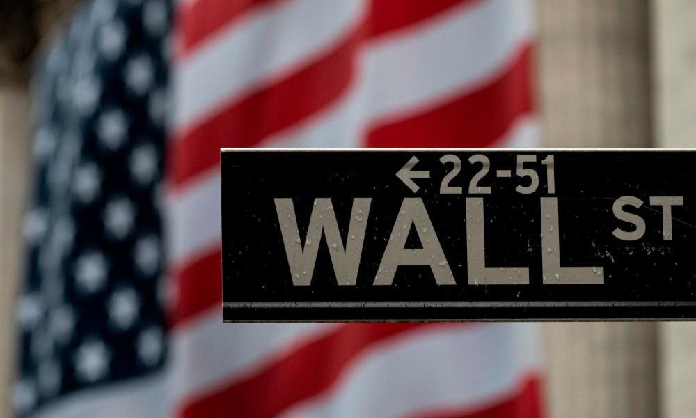 The US flag is seen at the New York Stock Exchange (NYSE) in New York City.