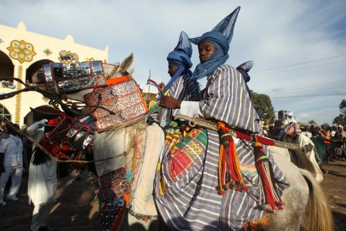 Horsemen take part in the Durbar festival parade in Zaria