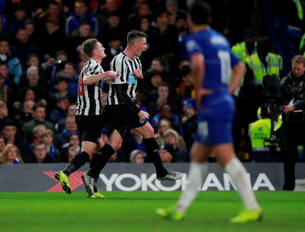 Newcastle United s Ciaran Clark celebrates scoring their first goal. 423c3a830