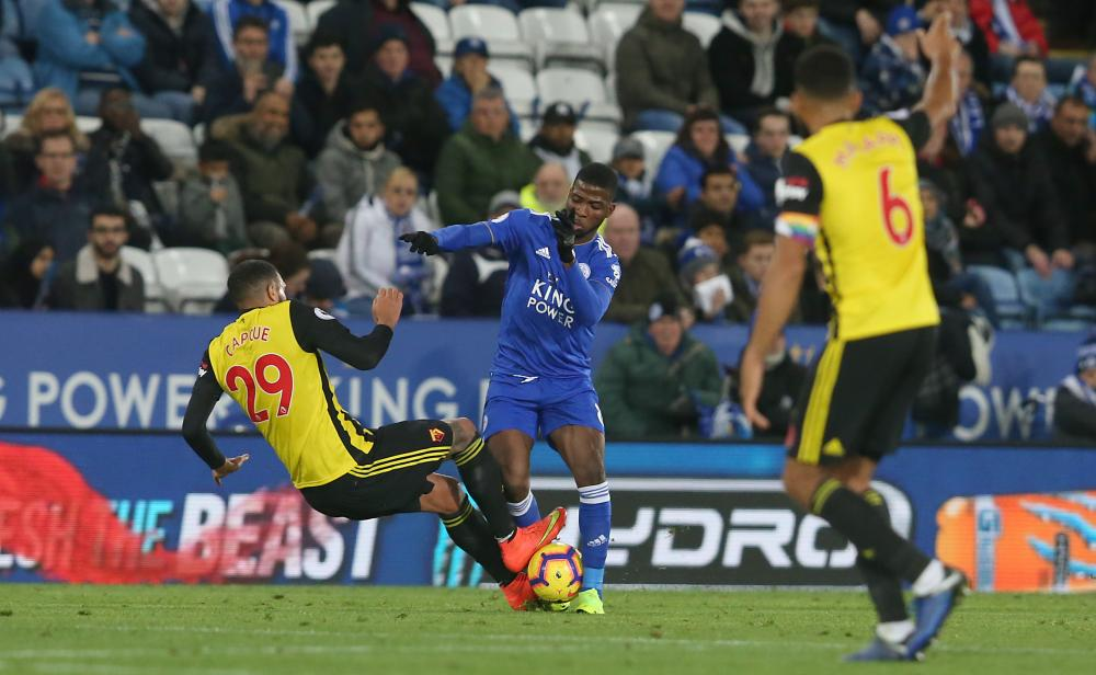 Etienne Capoue sees red for this challenge on Kelechi Iheanacho.