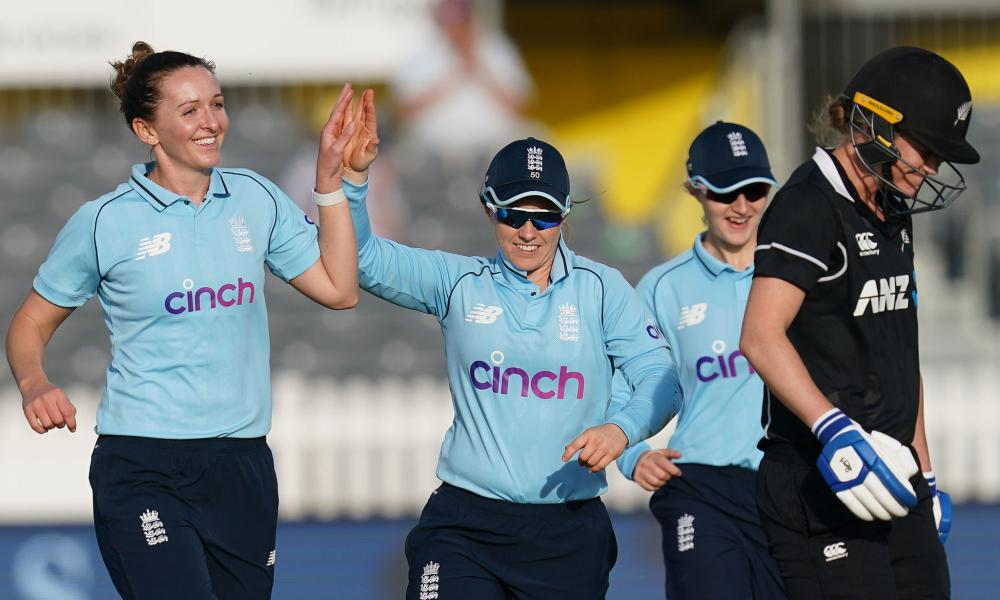 England's Kate Cross celebrates taking the wicket of New Zealand's Maddy Green.