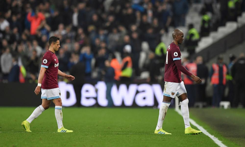 West Ham's Javier Hernandez and Angelo Ogbonna look dejected as they leave the pitch