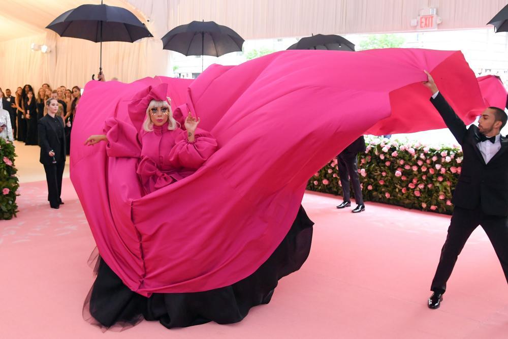 Lady Gaga makes one of four entrances.
