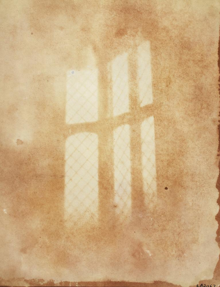 William Henry Fox Talbot's first photographic negative of a window at his home in Lacock Abbey