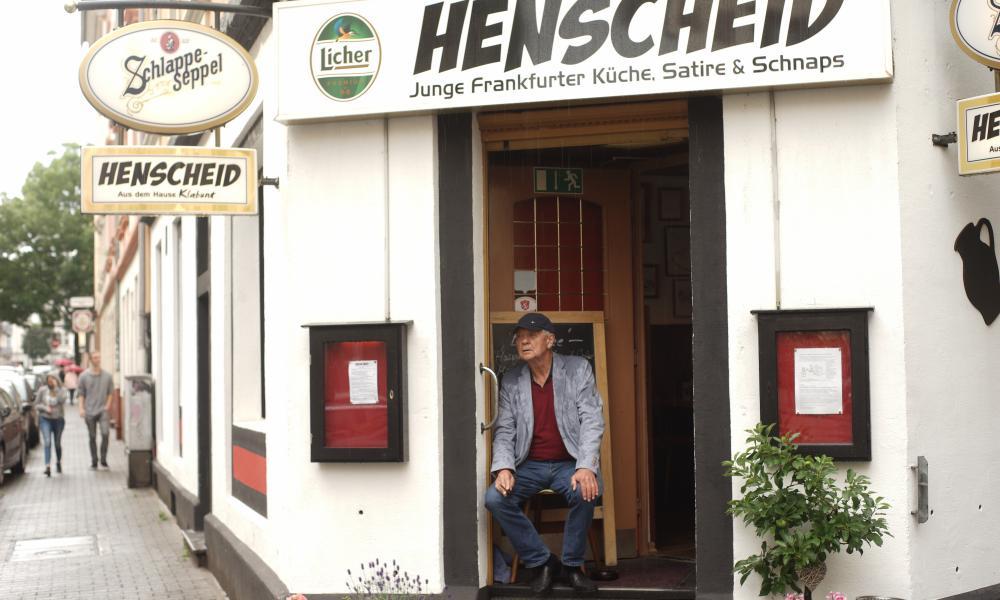 Legendary German author Eckhard Henscheid in front of the Henscheid, Frankfurt, Germany