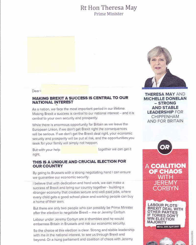 'The letter says 'on behalf of Michelle Donelan, Campaign Office' but does not say which organisation she represents.'