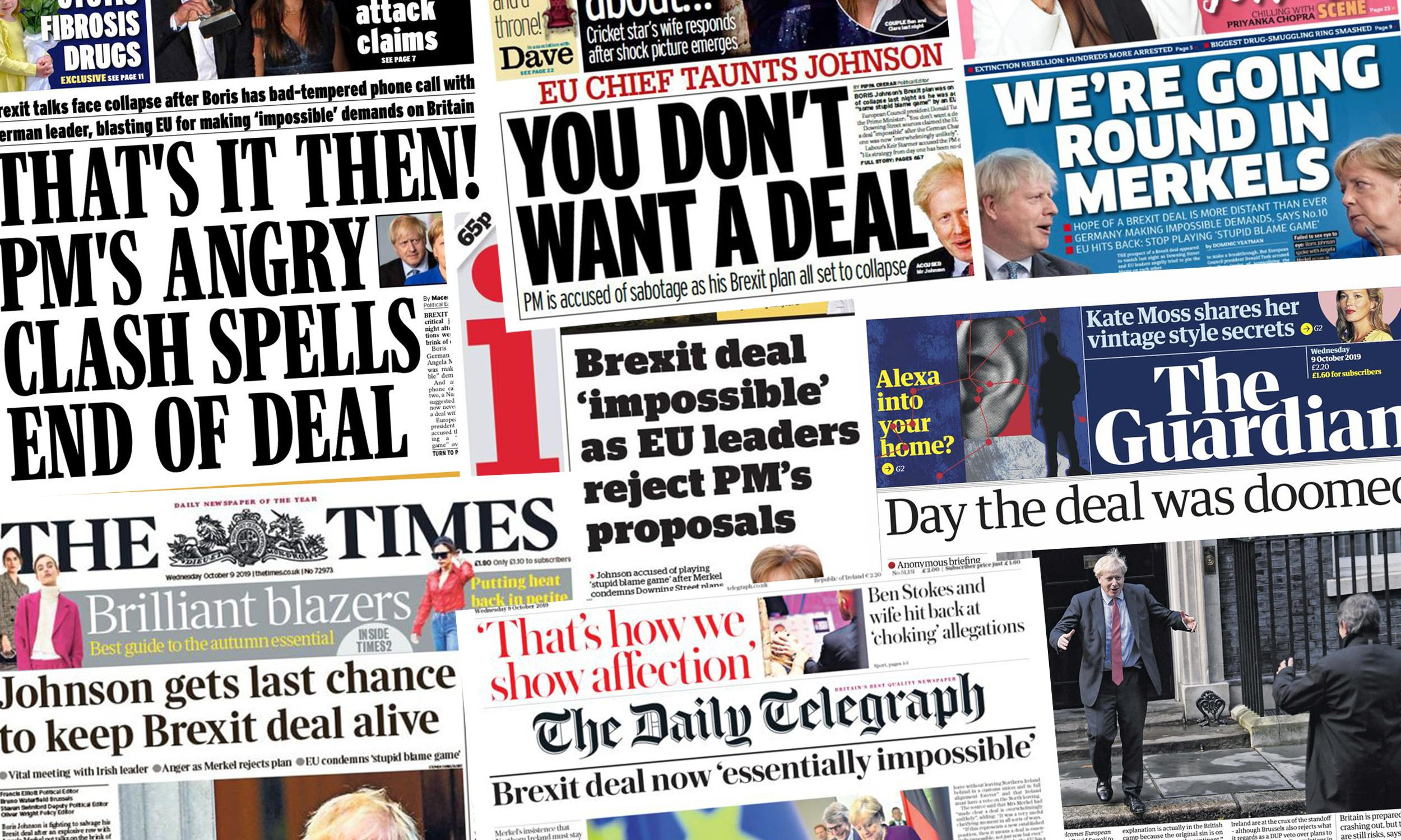 'Going round in Merkels': papers spell out bleak prospects for Brexit deal