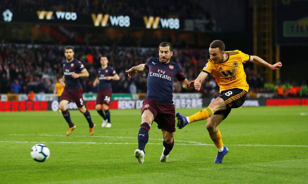 Wolverhampton Wanderers' Diogo Jota scores their third goal.