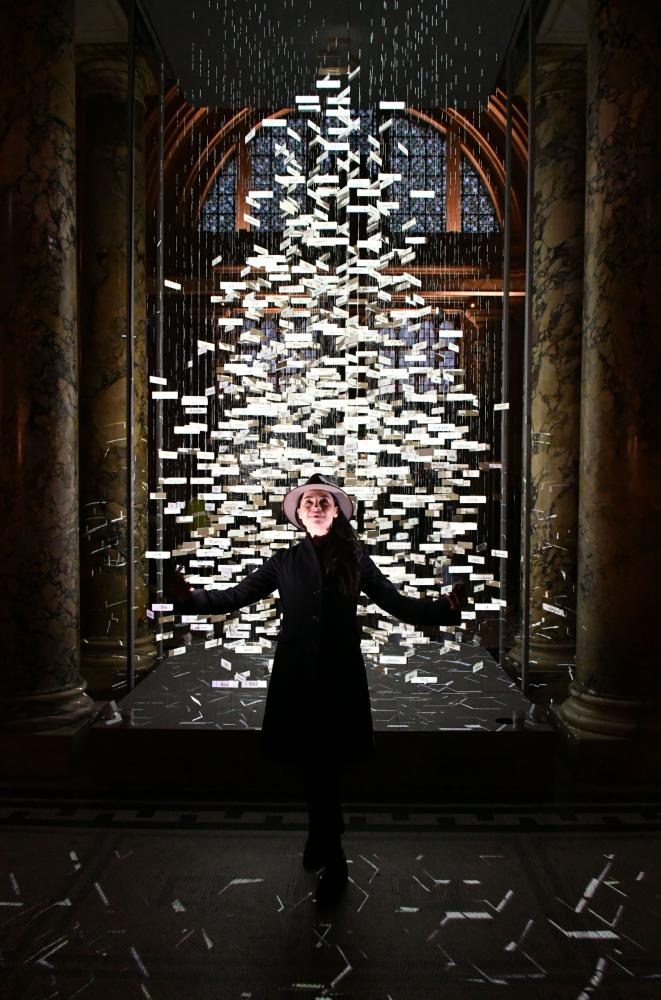 Es Devlin with her installation The Singing Tree at the V and A in 2017.