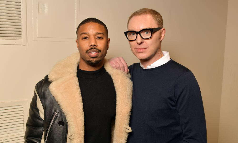 Michael B Jordan (l) with Stuart Vevers.