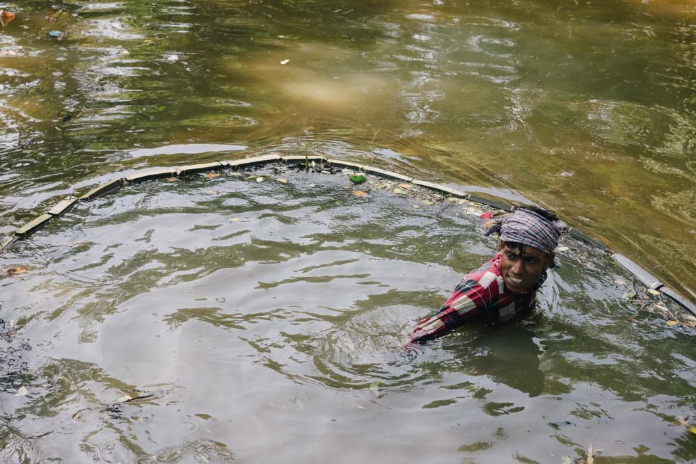 A traditional Bangladeshi fisherman
