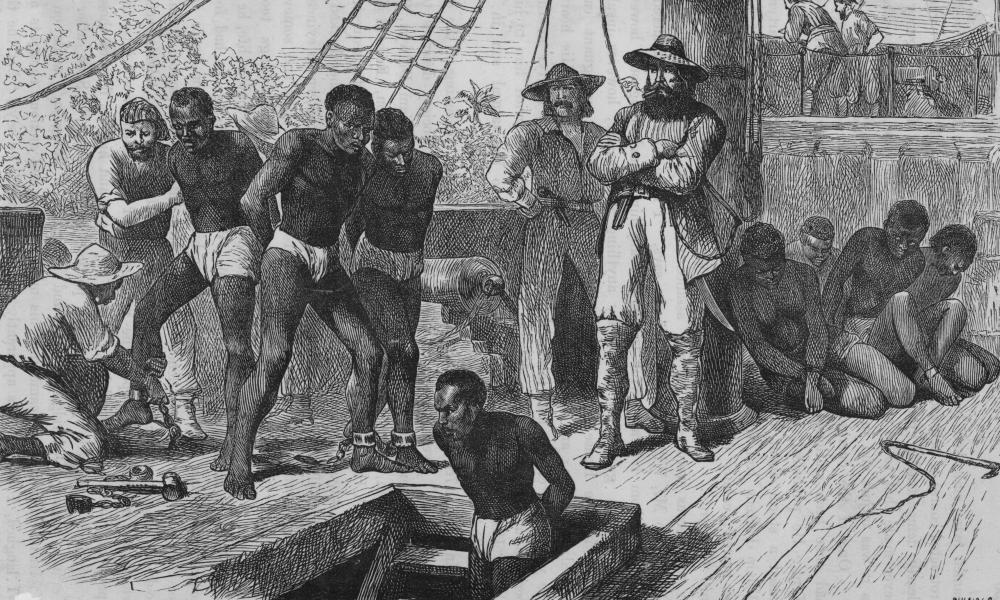 Illustration by Swain, from 1835, of slaves being put into the hold.