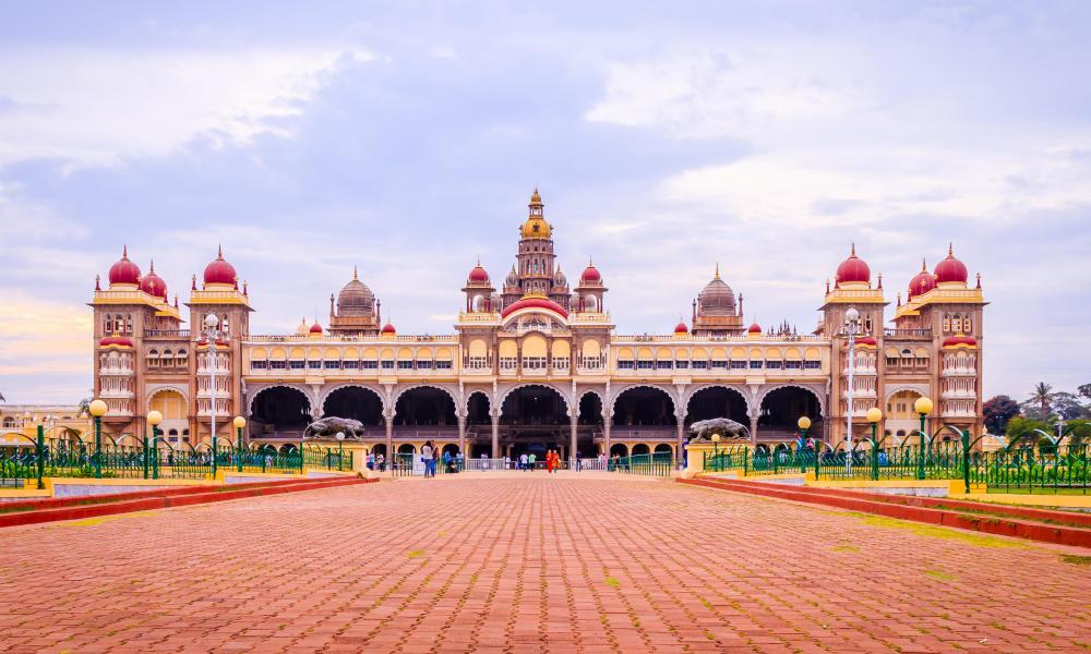 Wideangle view of Mysore Palace in Mysuru, India.