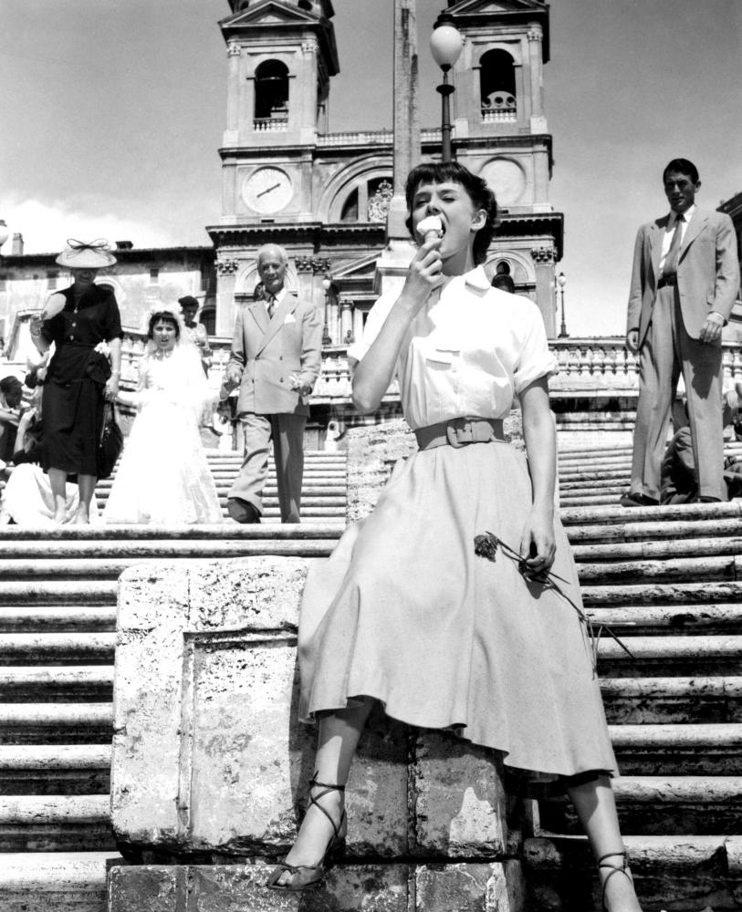 Audrey Hepburn on the Spanish Steps in Roman Holiday.