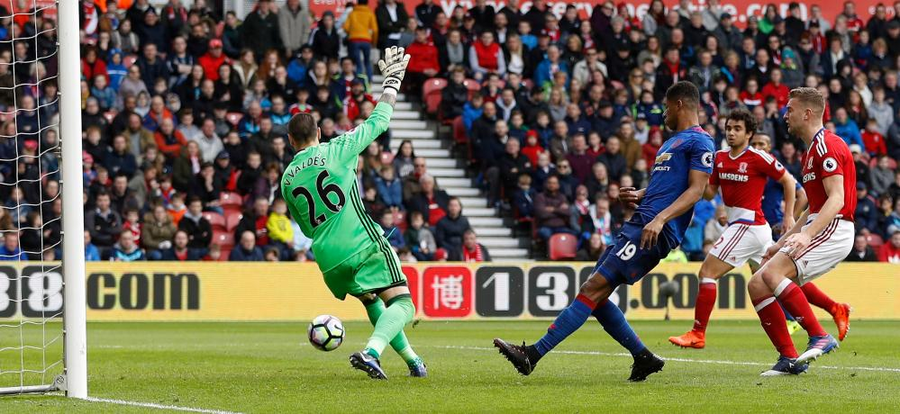 Middlesbrough's Victor Valdes saves from Manchester United's Marcus Rashford