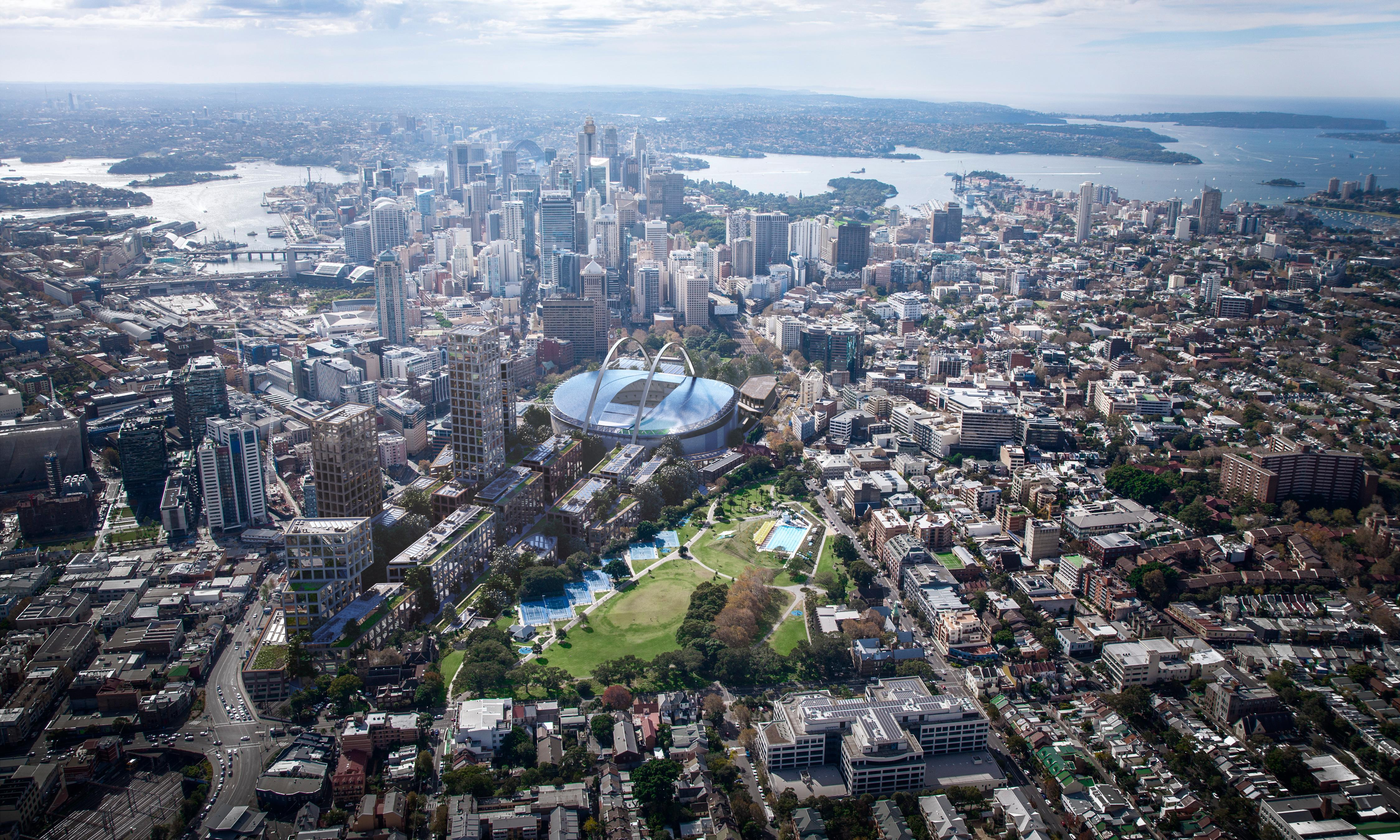 Bold plan to build new Sydney stadium suspended above Central station