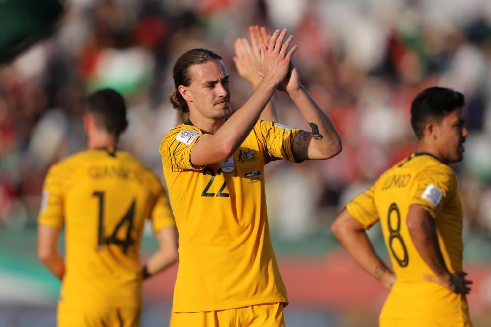 Jackson Irvine performed well for Australia against Palestine.