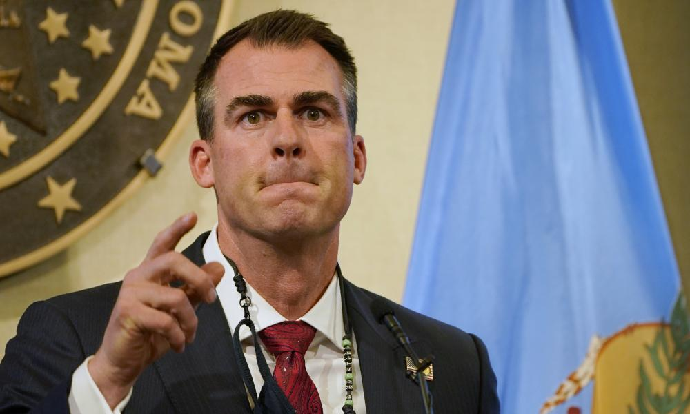 Oklahoma Governor Kevin Stitt speaks during a news conference in Oklahoma City, Monday, 16 November, 2020.