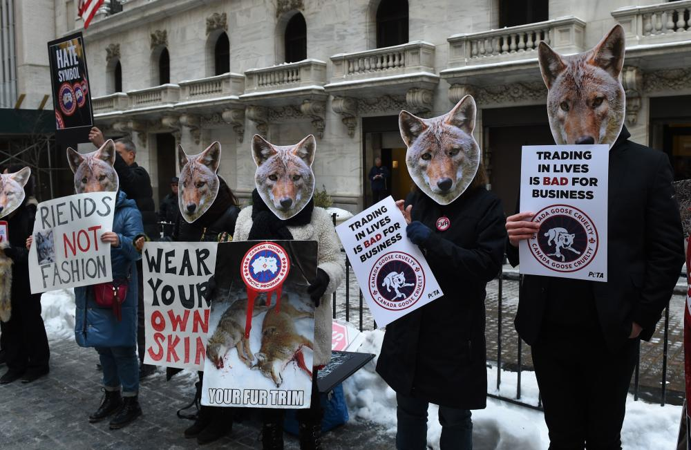 Peta members protest the coyote fur trade.