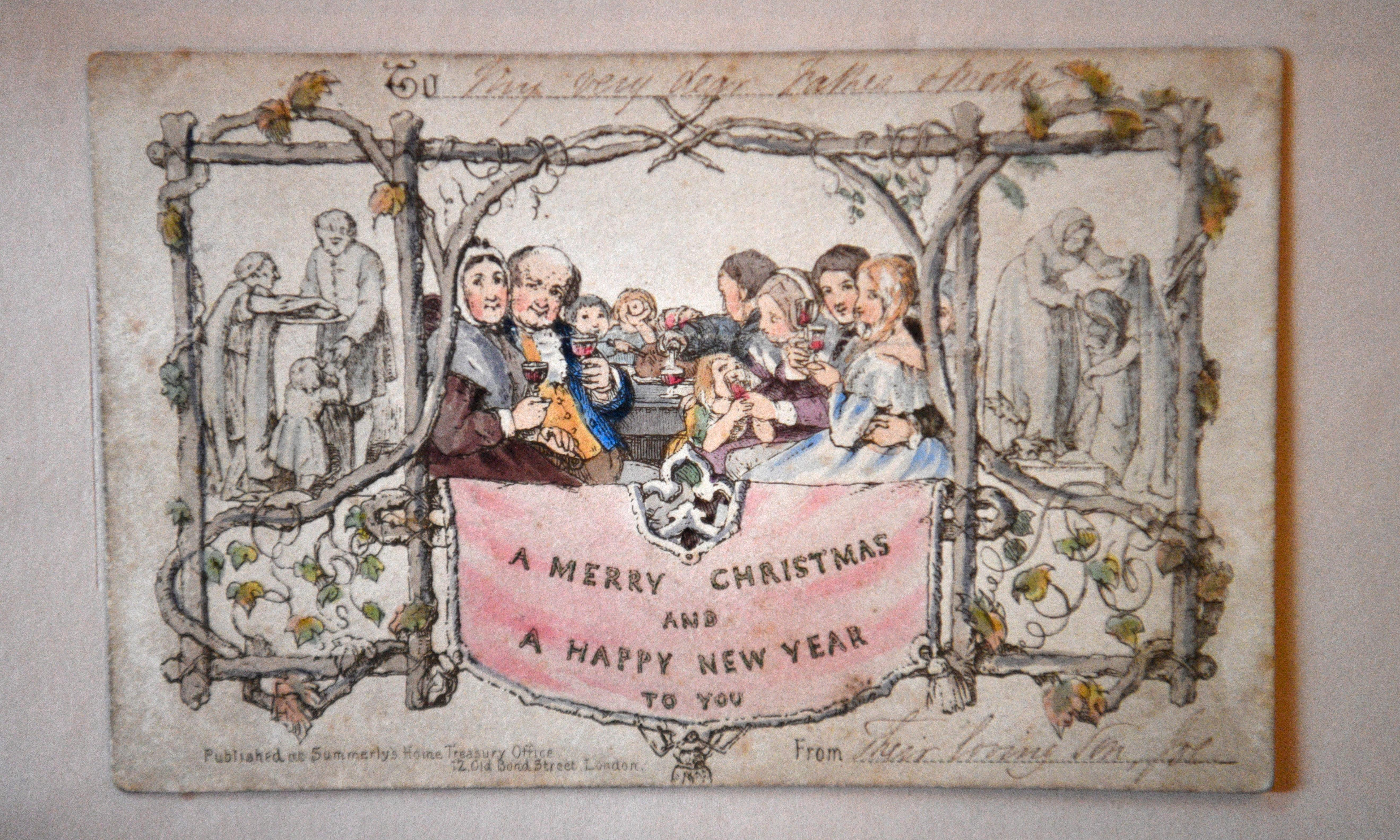 World's first printed Christmas card goes on display at Dickens museum