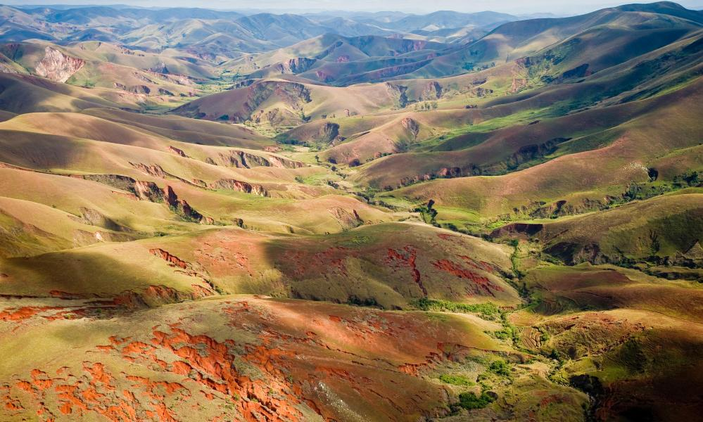 Aerial view of deforestated landscape in Madagascar. Home to some of the world's weirdest and most wonderful species, Madagascar has little of its historic forest left.