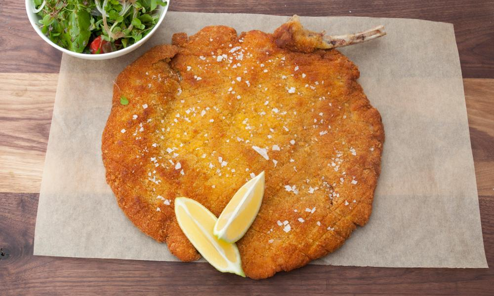 "'Milan looking north to Vienna and shouting, ""Call that a schnitzel? <em>This</em> is a bloody schnitzel""': veal Milanese."