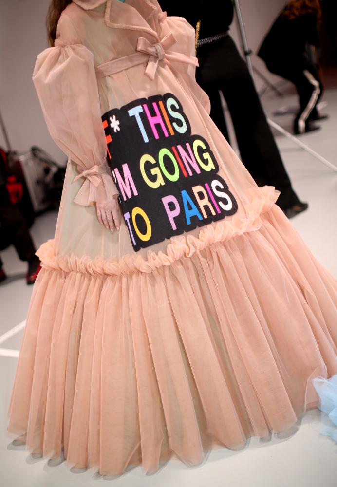 A slogan dress at Viktor & Rolf